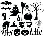 Cute vector Halloween silhouettes in black
