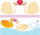 Cute vector Icons : Animal : Waterbird, Swan