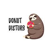 Cute vector illustration. Funny cartoon sloth eating a donut