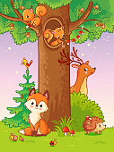 Cute vector illustration with animals.