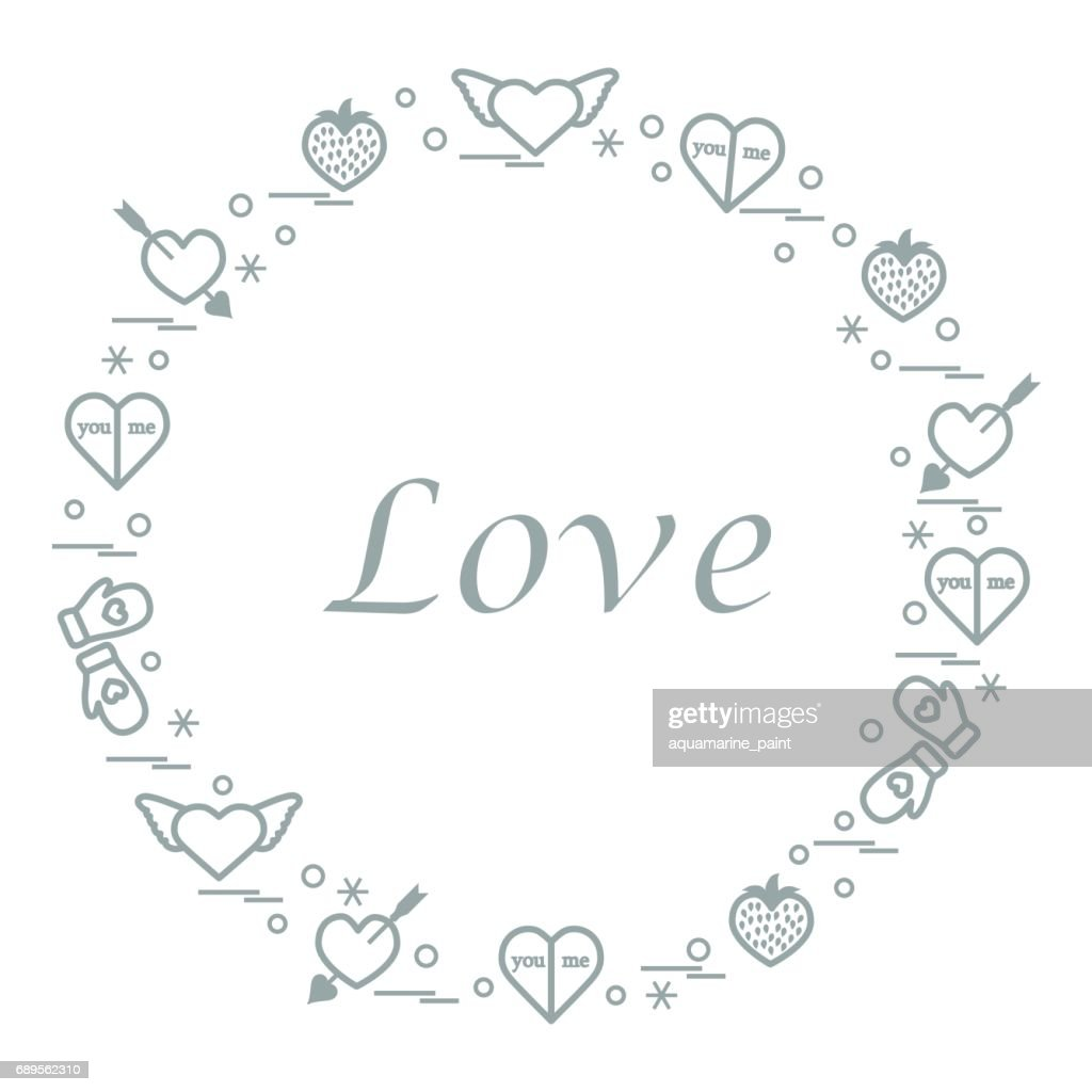 Cute Vector Illustration With Different Romantic Symbols Arranged In