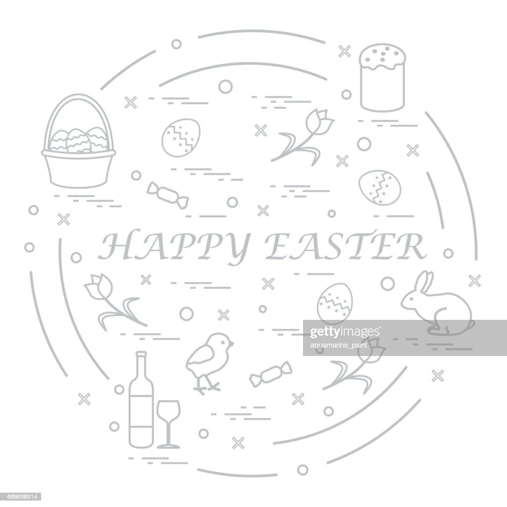 Cute vector illustration with different symbols for Easter arranged in a circle. Including icons of Easter cake, chick, baskets, eggs and other.