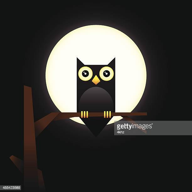 Cute Vector Owl Character Over Full Moon Light