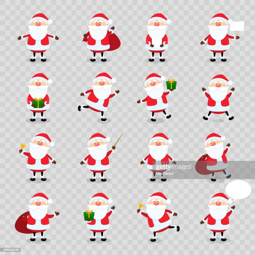 Cute vector Santa Claus icon set in flat style isolated on transparency grid background, christmas collection, xmas and New year character. Funny Santa with different emotions. Design template