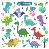 Cute vector set with dinosaurs.