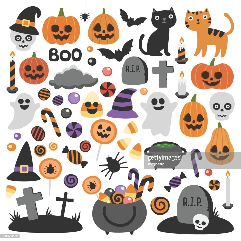 Cute vector set with Halloween illustrations.