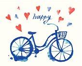 Cute vector watercolor bicycle