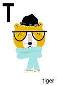 Cute vector zoo alphabet poster with cartoon animals. Set of kids abc poster in scandinavian style