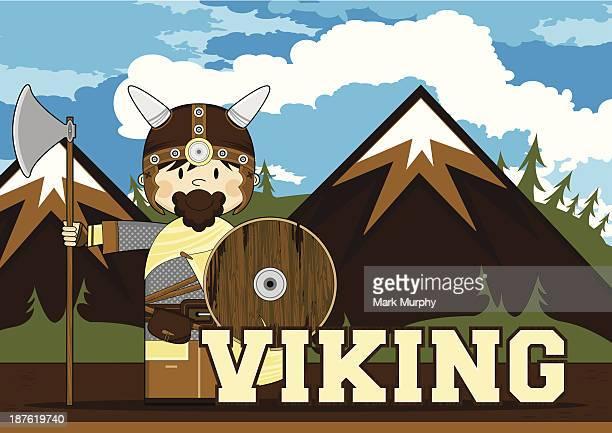 Cute Viking Warrior Learning Illustration