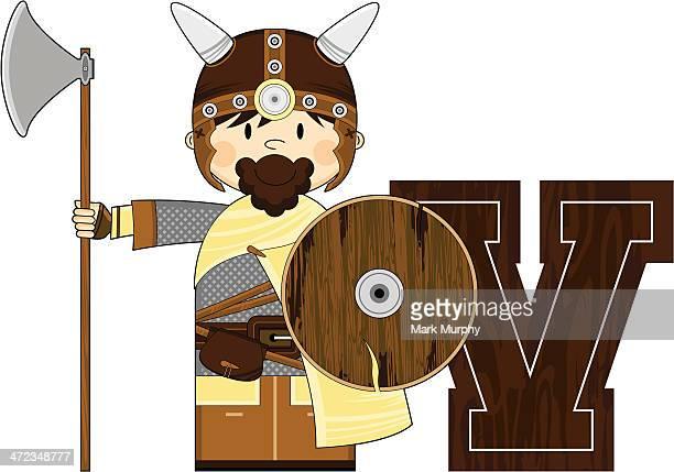 Cute Viking Warrior Learning Letter V