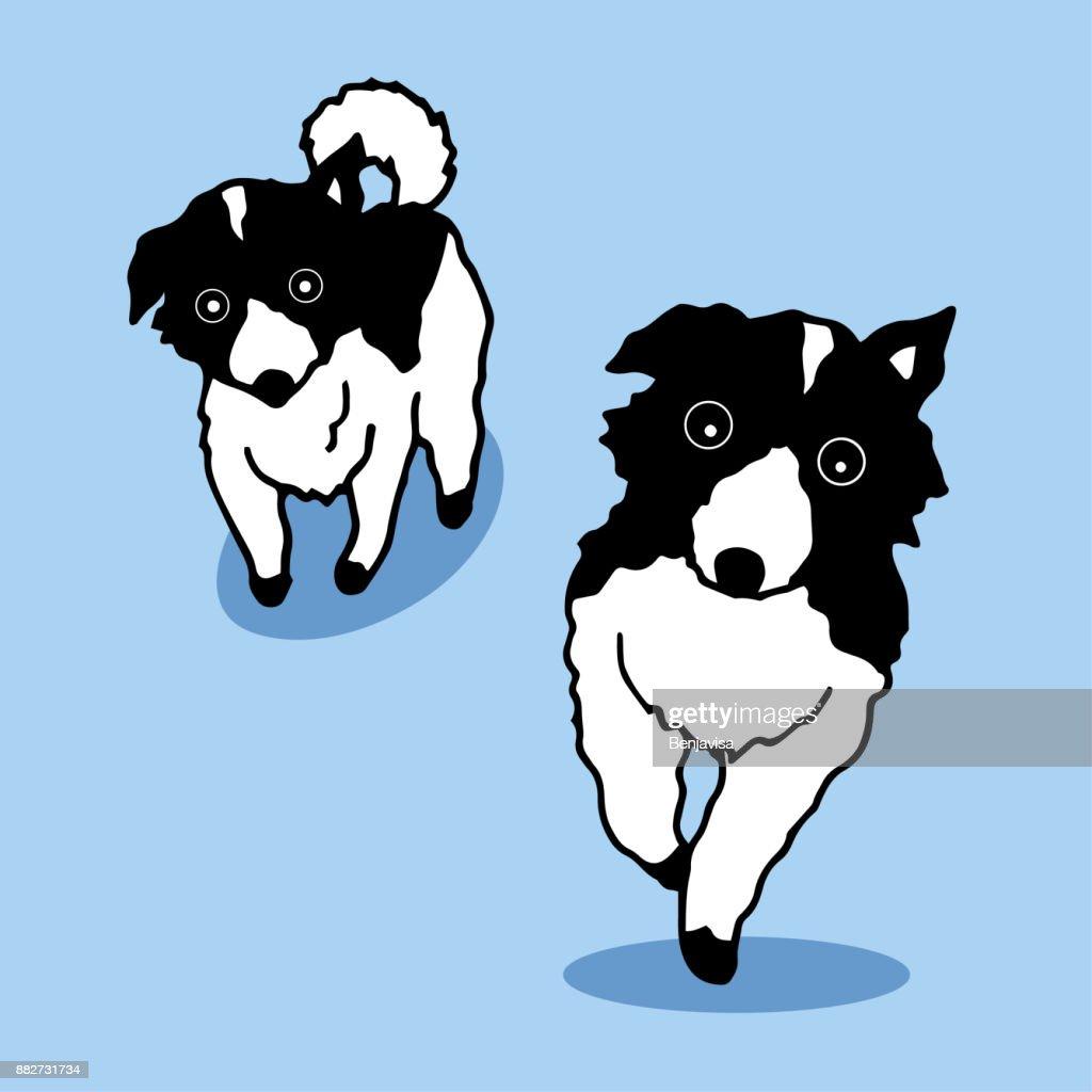 cute walking dog vector hand drawn illustration design