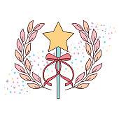 cute wand star ribbon accessory for princess ballet girl