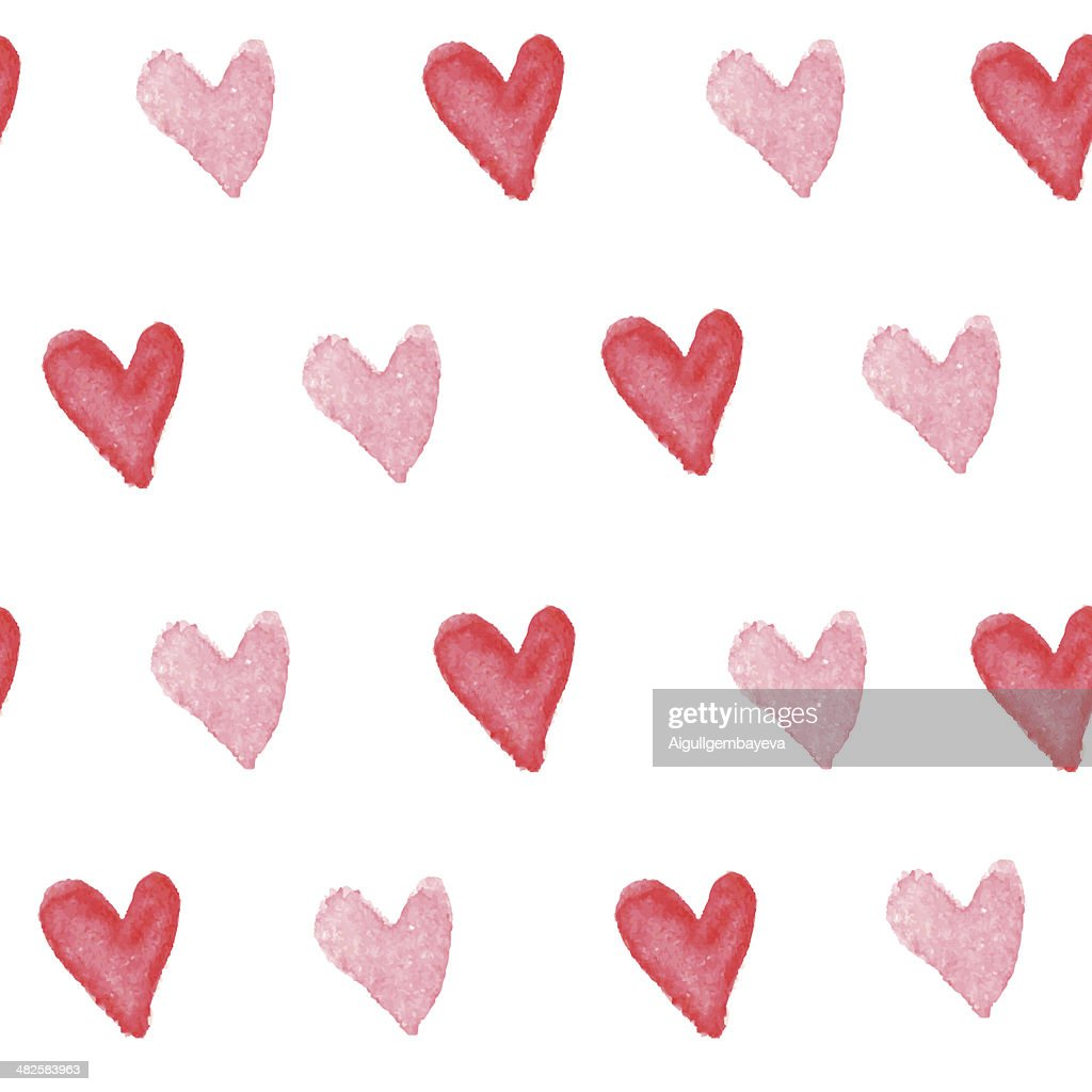 Cute watercolor heart seamless pattern.