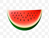 Cute Watermelon Icon on Transparent Background
