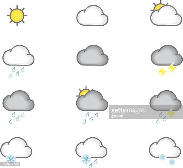 cute weather icons - sleet stock illustrations, clip art, cartoons, & icons