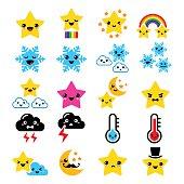 Cute weather Kawaii icons - star, rainbow, moon, snowflake, clouds