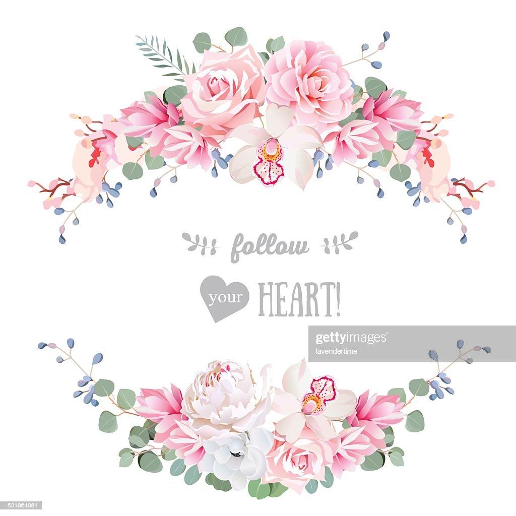 Cute wedding floral vector design frame. Floral banner stripe elements.