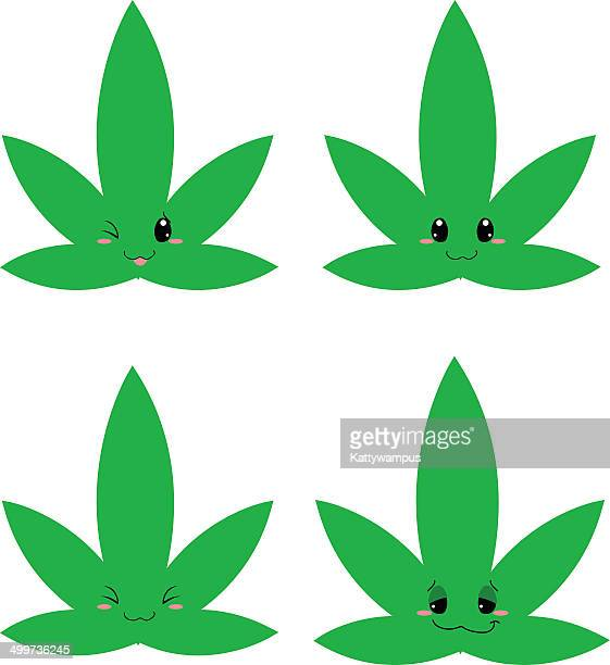 cute weed - cannabis narcotic stock illustrations, clip art, cartoons, & icons