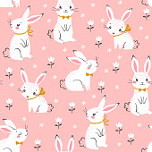 Cute white bunnies pattern