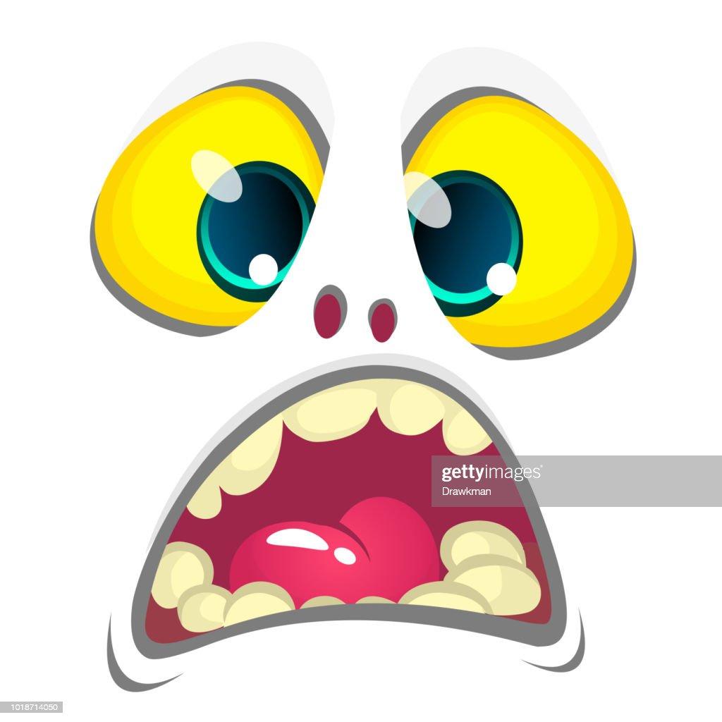 Cute white cartoon monster face. Vector Halloween  monster avatar . Design for print, children book, party decoration