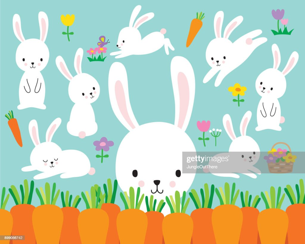 Cute White Easter Bunny Rabbit Vector Illustration