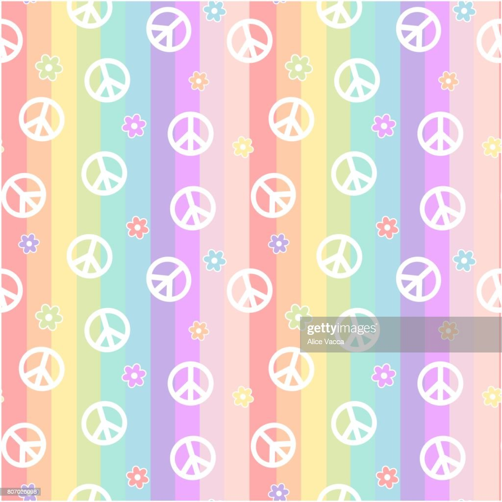 Cute White Peace Symbol With Daisy Flowers On Rainbow Colorful