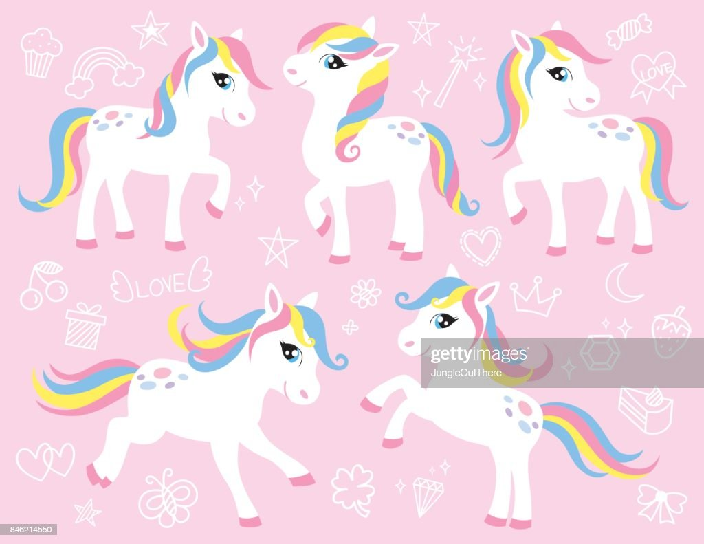 Cute White Pony or Horse Vector Set