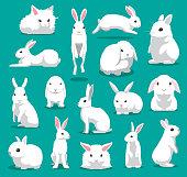 Cute White Rabbit Poses Cartoon Vector Illustration