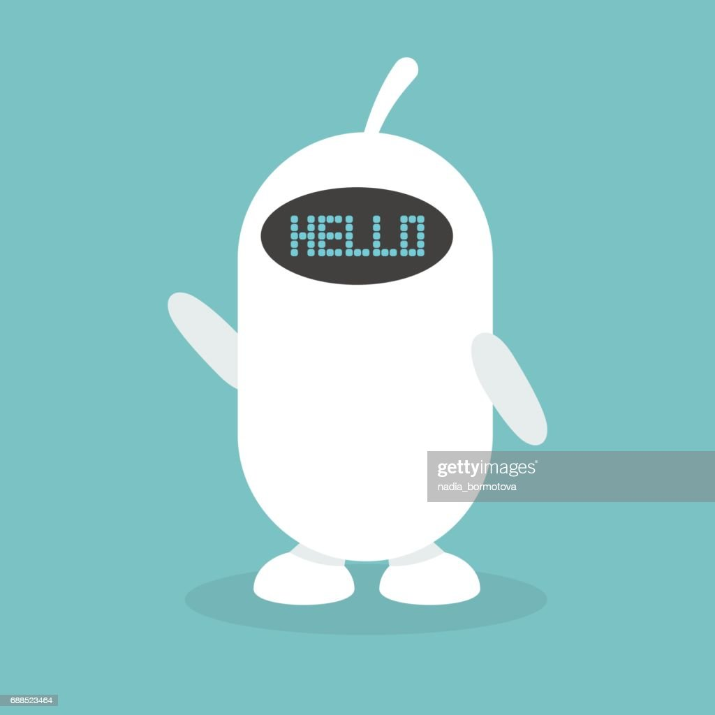 Cute white robot says 'hello' / flat editable vector illustration, clip art