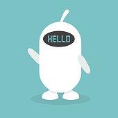 "Cute white robot says ""hello"" / flat editable vector illustration, clip art"