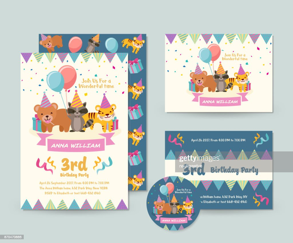 Cute Wild Animal Theme Happy Birthday Invitation Card Set And Flyer Illustration Template