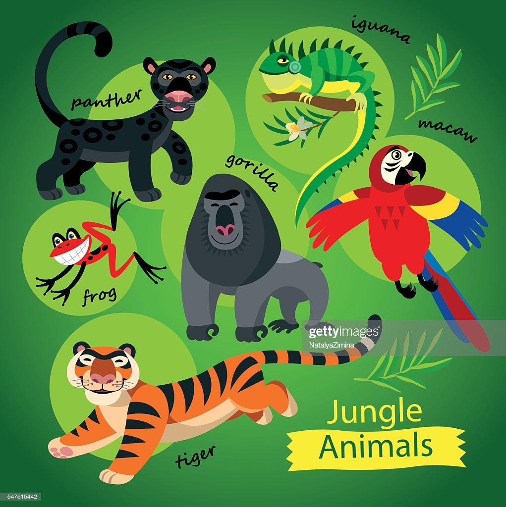 cute wild animals of Jungle on a green background