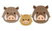 Cute wild boar and child illustration