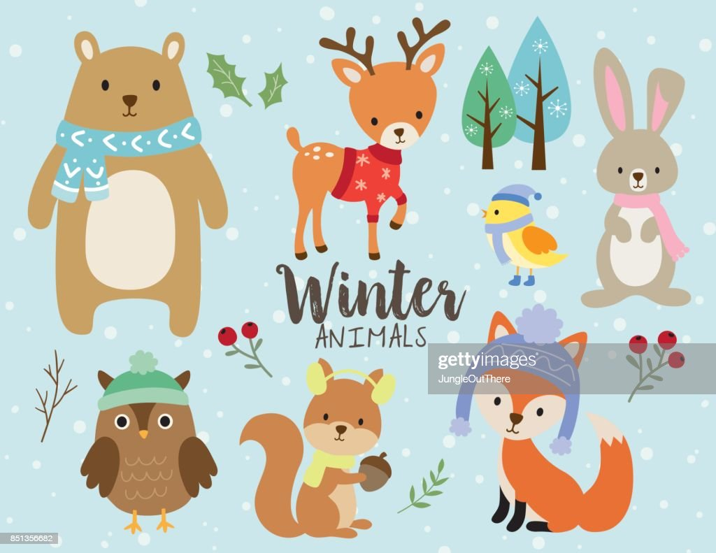 Cute Winter Animals with Snow Background