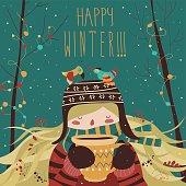 Cute winter cartoon girl with coffee