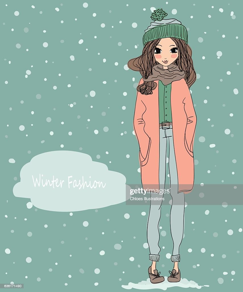 Cute Winter Greeting Card With Young Beautiful Girl Wearing Coat