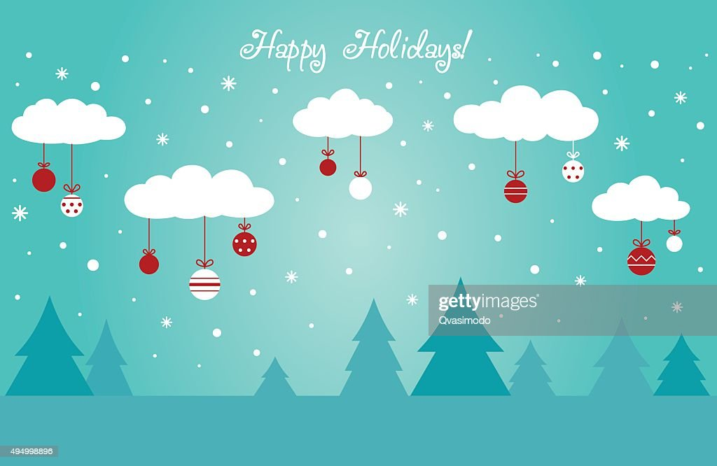 Cute winter holiday background with clouds decorating with holiday toys