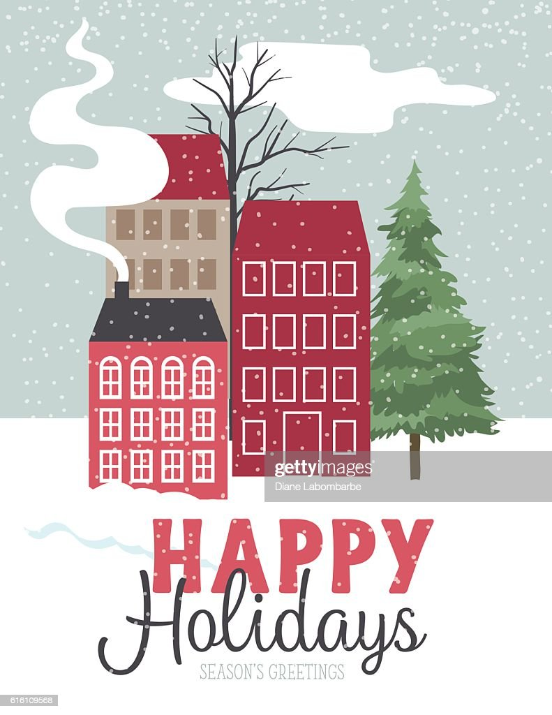 cute winter houses in the snow holiday card ベクトルアート getty