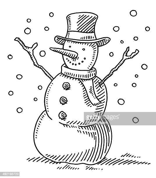 cute winter snowman drawing - snowman stock illustrations