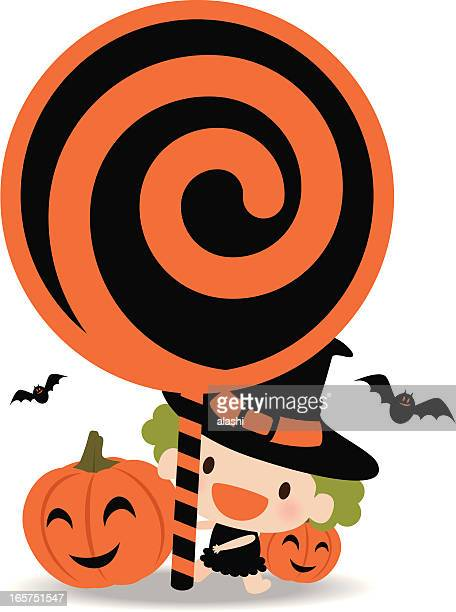 Cute Witch Holding Lollipop Sign with bat and Pumpkin