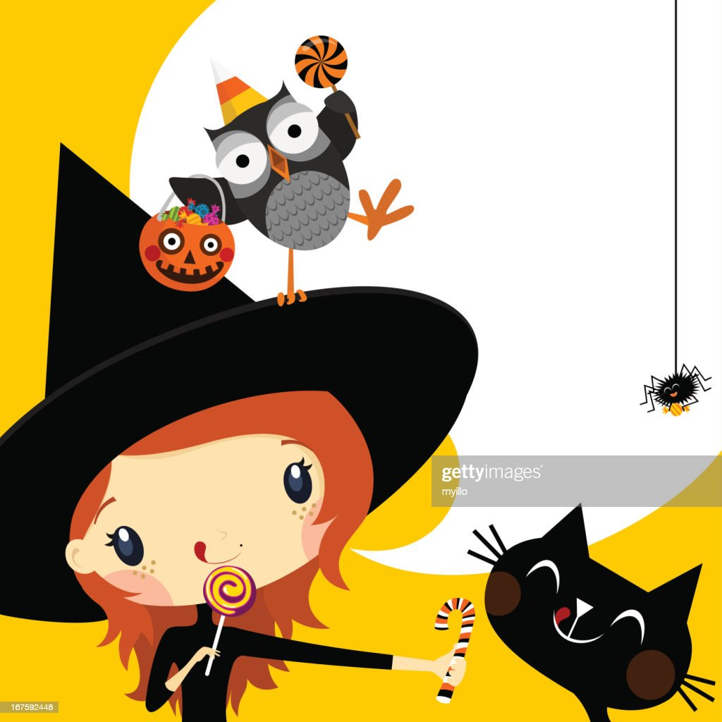 Cute witch in Halloween invitation