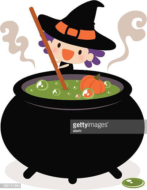 cute witch stirring her cauldron - magical equipment stock illustrations, clip art, cartoons, & icons