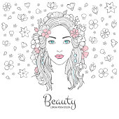 Cute woman portrait. Glamour fashion young beautiful woman flowers in hair and smile face vector background with place for your text