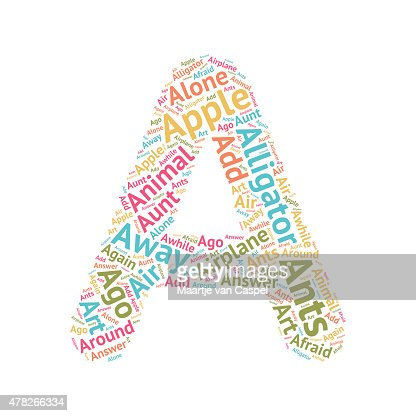 words that start with the letter a cute word cloud abc letters a vector art thinkstock 1735