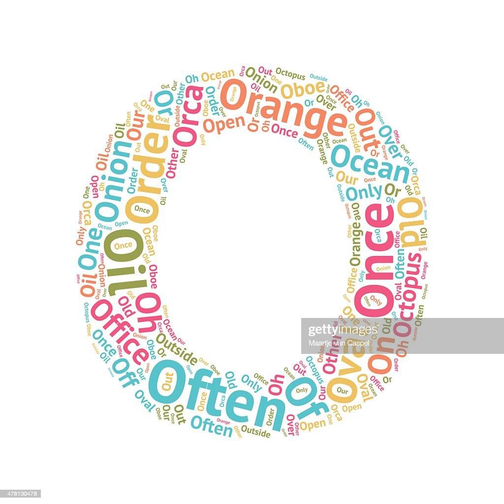 Cute Word Cloud ABC Letters - O