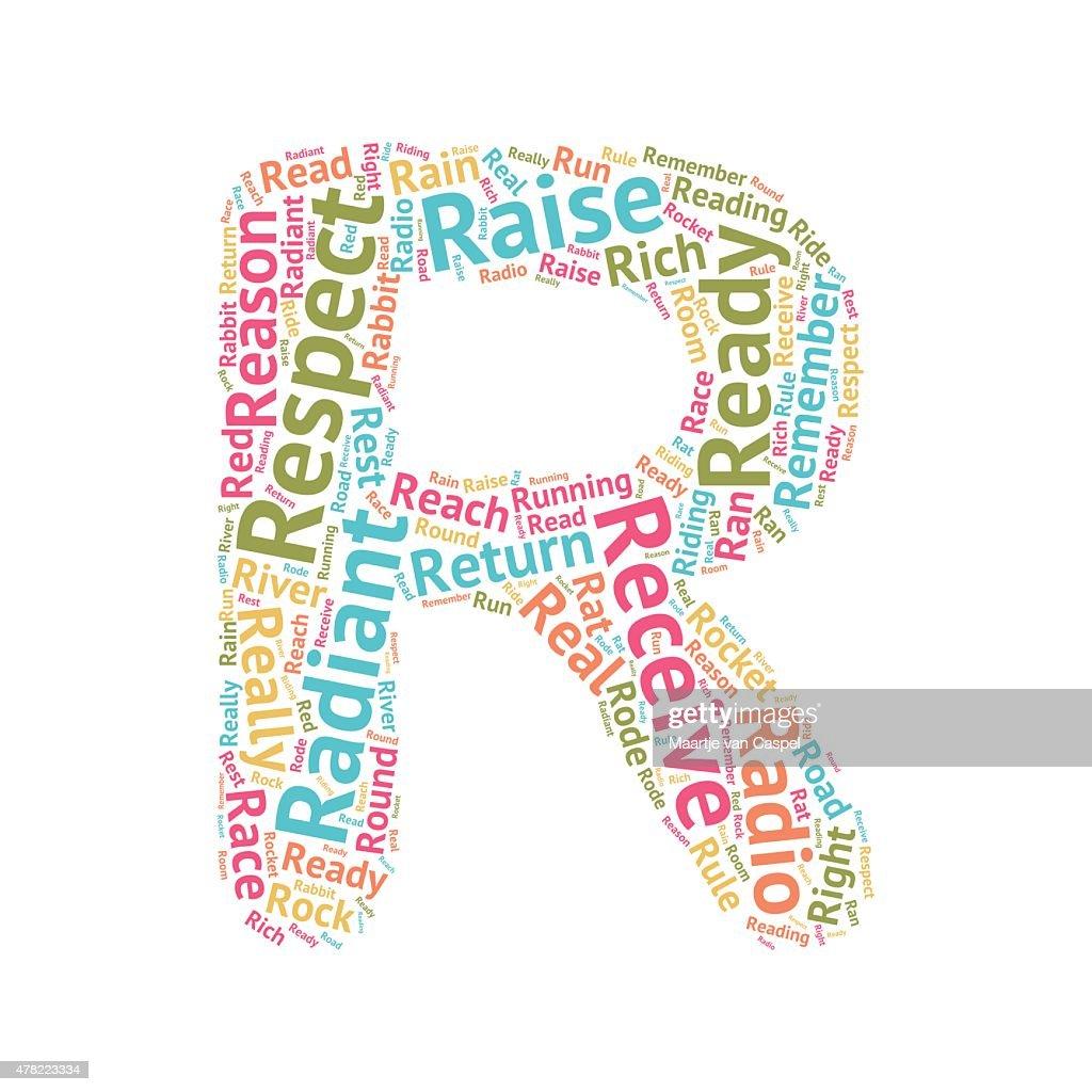 Cute Word Cloud ABC Letters - R