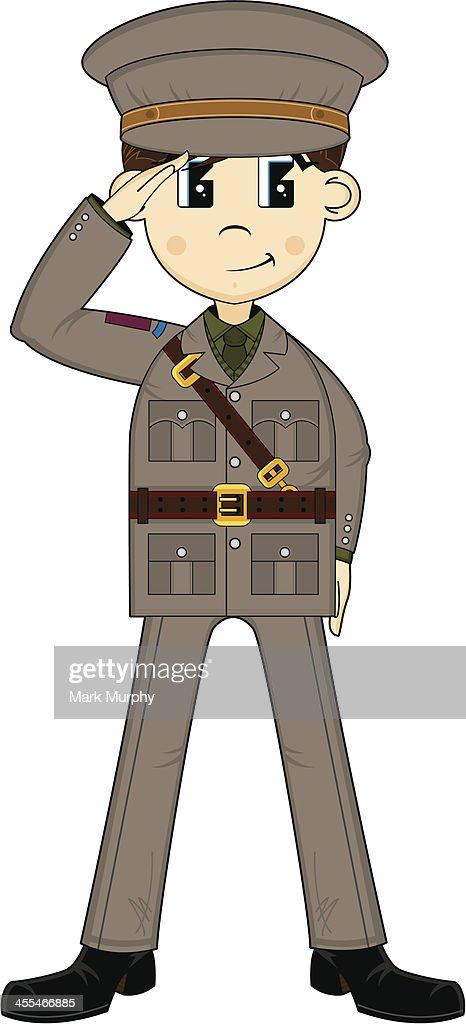 Cute Ww2 British Army Officer Saluting stock illustration