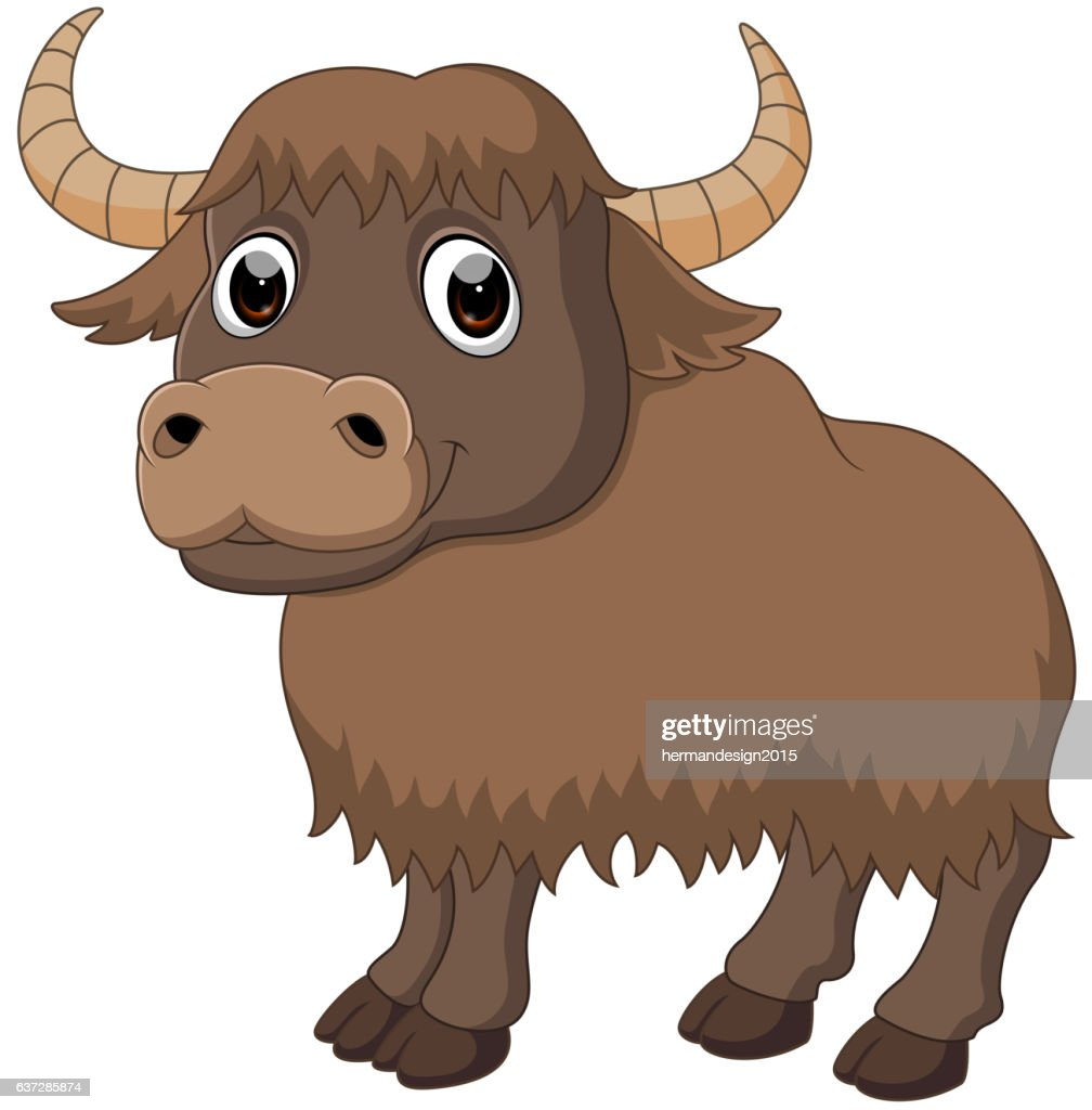 Cute yak cartoon