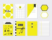 Cute yellow and white trendy paper sheet and envelope set with Hello, black symbols in different designs templates on gray background