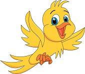 Cute yellow bird cartoon vector illustration